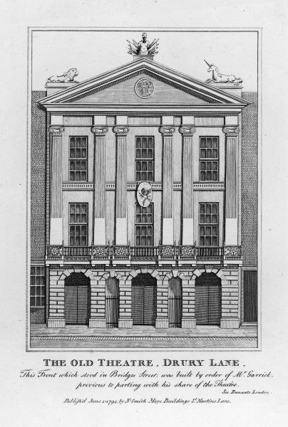 The front of the old Drury Lane theatre, in Bridges Street, built to Garrick's orders