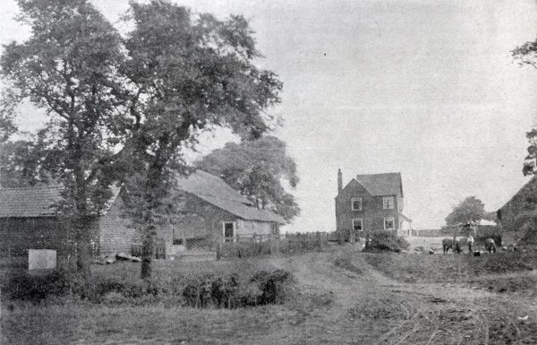 Old farmhouse at Laindon Labour Colony, near Dunton, Essex. The colony, located on a former farm, was established in 1904 by the Poplar Poor Law Union as an alternative to the workhouse for able-bodied men. Date: 1904