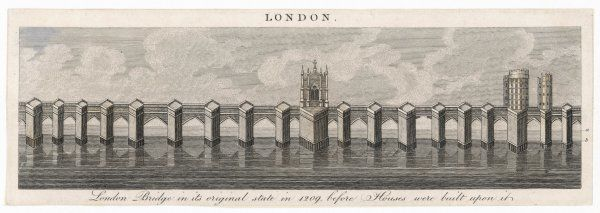 London Bridge in its original state, before houses were built upon it