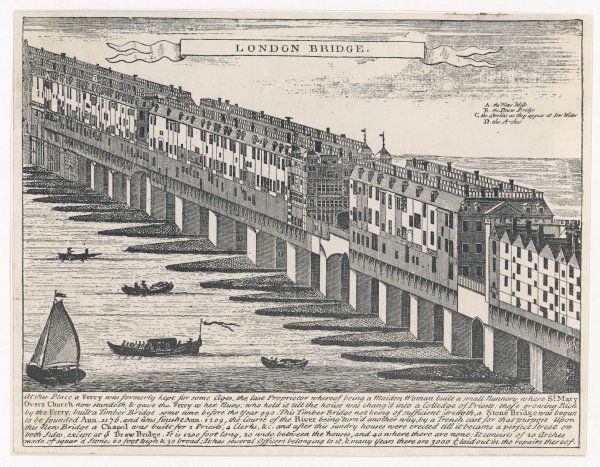 A general view of the old London bridge, completed in 1209, with the houses which were built upon it in the subsequent centuries