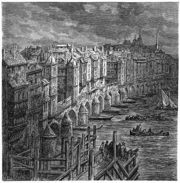 Old London Bridge at the end of the 17th century