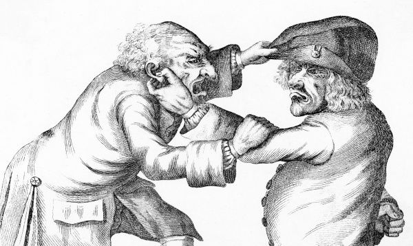 Two wrinkly old men pull faces at each other, one pinching hard on his opponents ear, the other trying to pinch his opponents hat, as depicted by Tim Bobbin (the pseudonym of John Collier, an English caricaturist and satirical poet based in Lancashire)