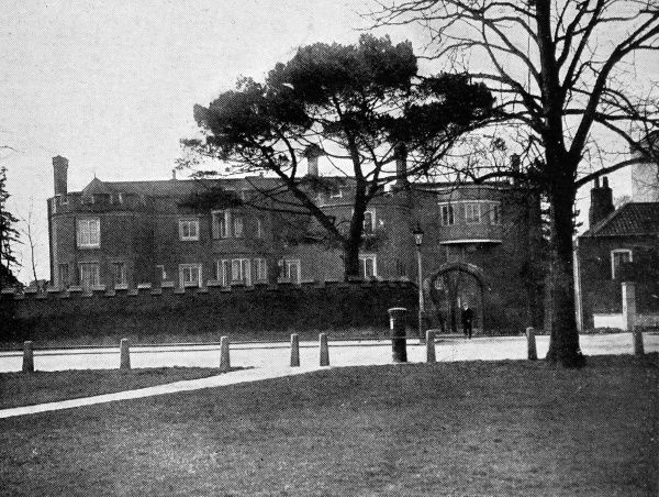 Photograph showing the Gatehouse of the 'Old Palace' at Richmond. This palace was used by Edward III, Henry VII and Elizabeth I, who is said to have died in a little room over the gateway. In 1914, it was being offered to the nation by Mr