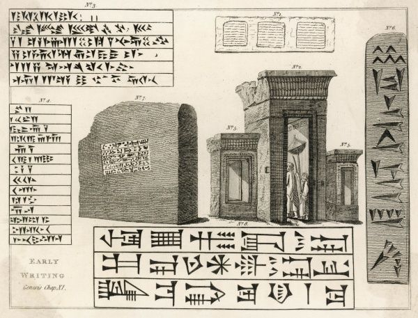 Cuneiform writing from the ancient city of Persepolis