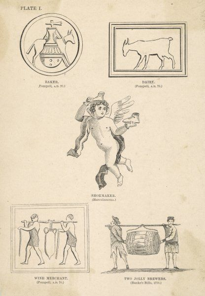Various old pub signs: Baker, Dairy, Shoemaker, Wine Merchant, Two Jolly Brewers. (plate 1 in series)