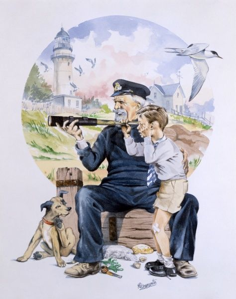 An elderly sailor seated on the end of a weathered groyne lets an inquisitive young lad peer through his telescope, as the terns swoop overhead. The boy's pet dog seems far more interested in scatching behind his ear