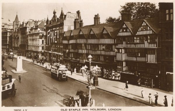 Old Staple Inn and the Roneo Building, Holborn, London c. 1910