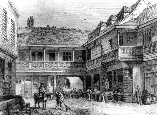 The old 'Tabard' inn, Southwark, London, demolished in 1876. Also known as The Talbot Inn. Date: 19th century