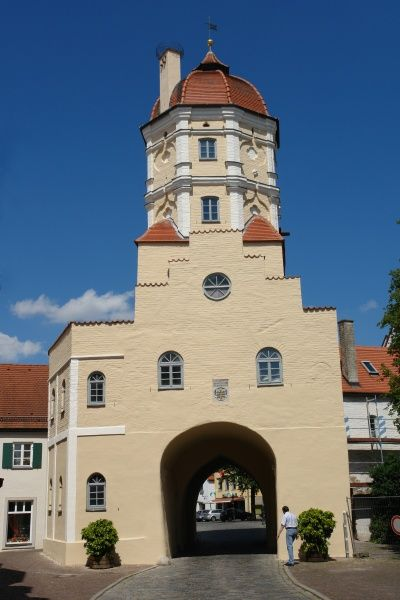 View of the old town gate in Aichach, Bavaria, Germany. The history of the town dates back almost one thousand years