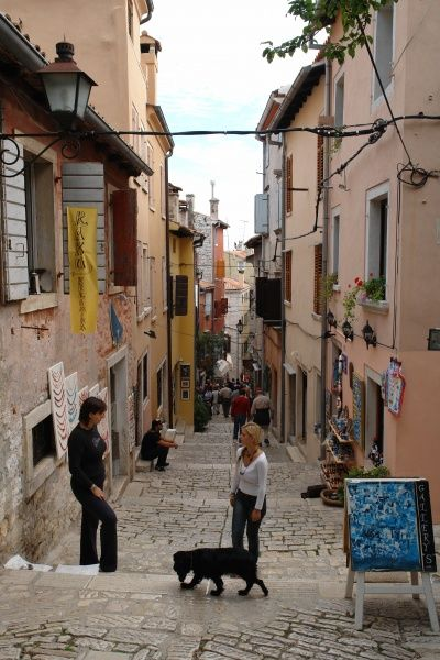 A narrow street in the old part of Rovinj, on the western coast of Istria, Croatia