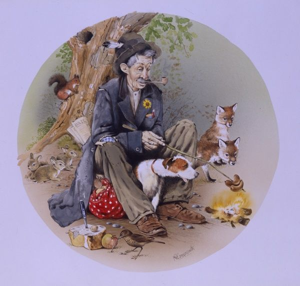 An old tramp cooking sausages in the open air over a small camp fire, surrounded by a variety of animals and with his pet Jack Russell dog sheltering beside him