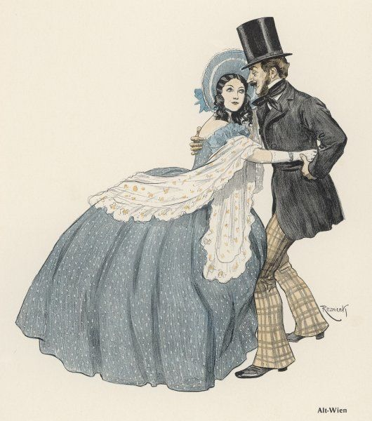 'Alt Wien' A romantic couple manage to dance together in old Vienna, despite the emcumbrance of her crinoline