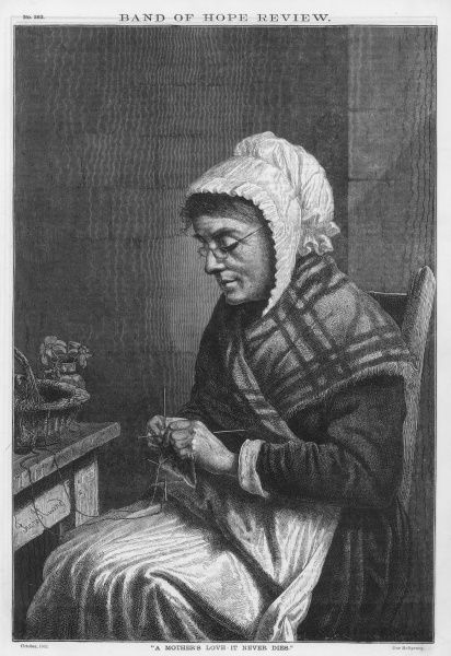 An old woman sits and knits. Date: 1882