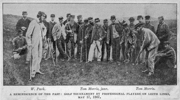 A golf match involving Willie Park, Old Tom Morris, and Young Tom Morris at Leith Links, Scotland