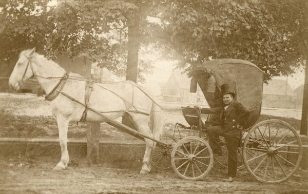 The oldest one horse carriage in America, 250 Years old, owned by J. W. Baldwin, Petersham, Massachusetts
