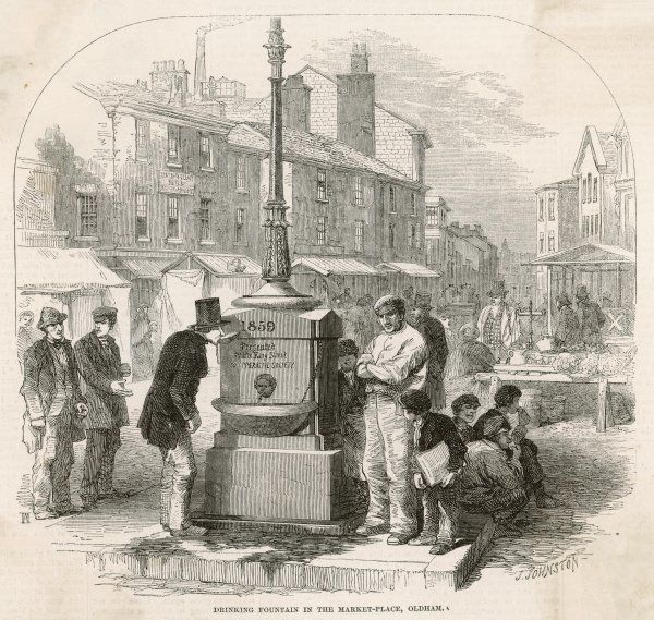 The drinking fountain in the market place at Oldham, Lancashire, erected in 1859 and providing refreshment to all who thirst