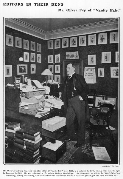 "Oliver Armstrong Fry, editor of Vanity Fair, pictured in his office surrounded by the famous caricatures by ""Spy"". Born in Tasmania, he was educated at St. John's College, Cambridge"