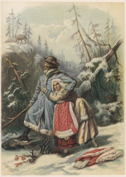 Per Olsson protects Lisa Erkersdotter from a wolf -- depiction of an old Swedish tale