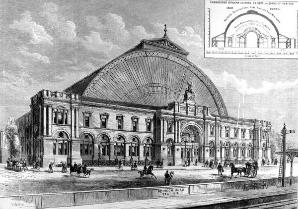 Engraving showing the exterior of the Olympia Exhibition Hall, London, 1886