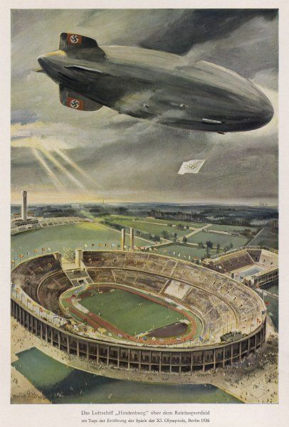 The Hindenburg flies over the opening ceremony. Date: 1936