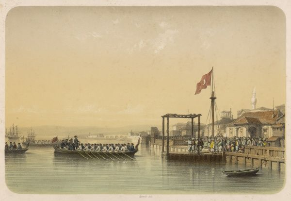 Omar Pacha embarks from Varna - Bulgaria - on the Black Sea coast during the 1854-56 Russian 'Crimean' War