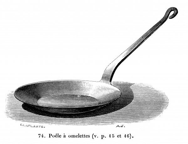 A saucer shaped frying pan with taper sides made for cooking omelettes to perfection
