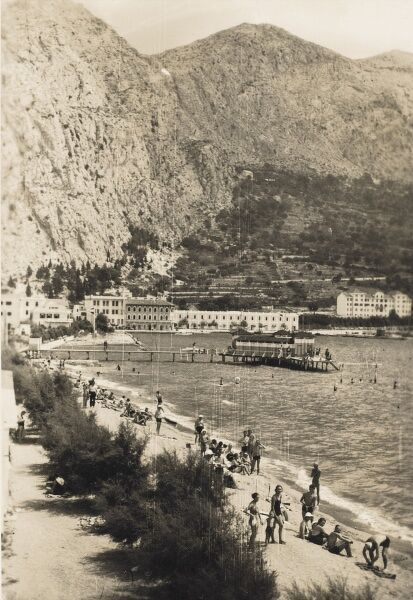 Omis - Croatia. The beach. Omis was well known in the past for the Corsairs of Almissa whose Sagittas (ships), brought fame to the Corsairs as they were built for attack and fast retrieval in and out of the mouth of the Cetina River, protecting