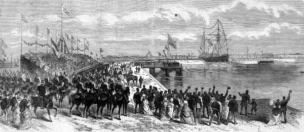 Opening of the Alexandra Dock at King's Lynn, Norfolk by the Prince and Princess of Wales, showing the 'Mary' entering the dock