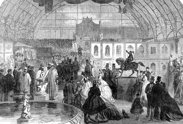 Engraving showing the opening of the North-East London exhibition of Arts and Manufactures at the Agricultural Hall, Islington, London, 1865