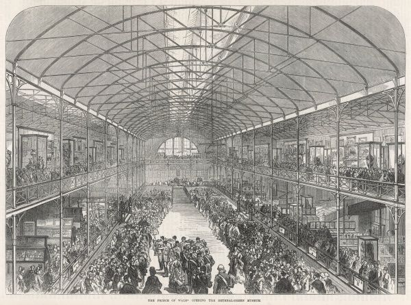 Engraving showing a view of the official opening of the Bethnal Green Museum, London, as presided over by the Prince of Wales in 1872