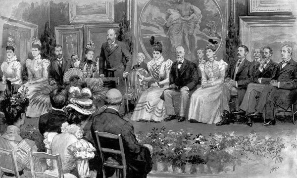 Illustration showing the Prince of Wales making a speech at the opening of the 'National Gallery of British Art', later known as the 'Tate Gallery' and now 'Tate Britain', London, 1897. Those in attendance were the Prince