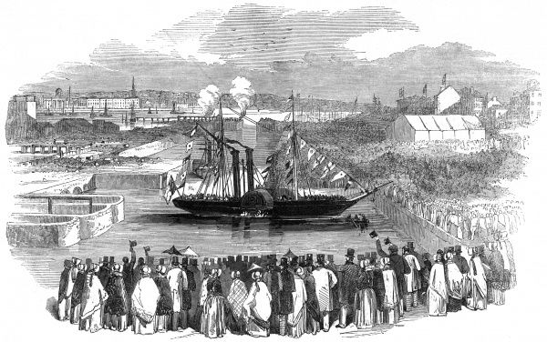 The docks were opened on the 5th April 1847, with a great number of people coming to view the event. Steamers crossed from Birkenhead to Liverpool and back again for the whole day and carried thousands. It cost 2d a head for this ride. Date
