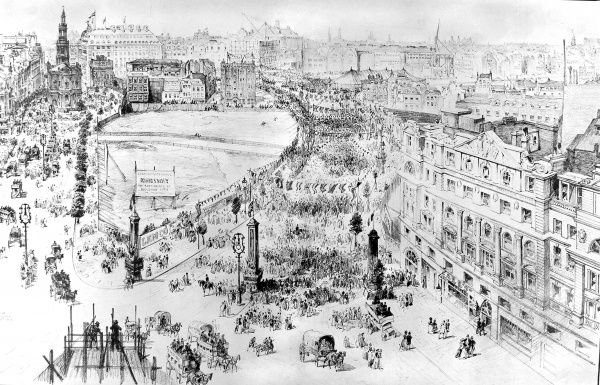 Aerial view showing the official opening of the Kingsway and Aldwych, after extensive redevelopment, by the King in October 1905