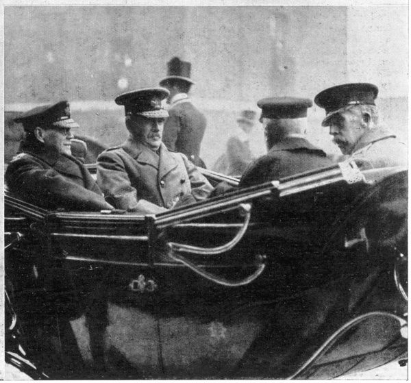 The new session of Parliament was opened with a procession, in which the third carriage contained Admiral Rossyln Wemyss(left), First Sea Lord of the Admiralty, General Sir William Roberston, Chief on the Imperial General Staff, Admiral Sir