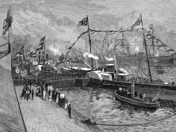 The opening of the new Royal Albert Dock at Woolwich by the Duke and Duchess of Connaught in 1880
