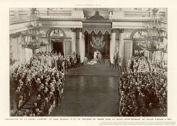 The opening of the Russian Assembly (Duma). Tsar Nicolas II reads his speech from the throne room in St. Georges hall, the Winter Palace
