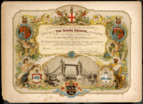 An invitation to the opening of Tower Bridge from the corporation of the City of London