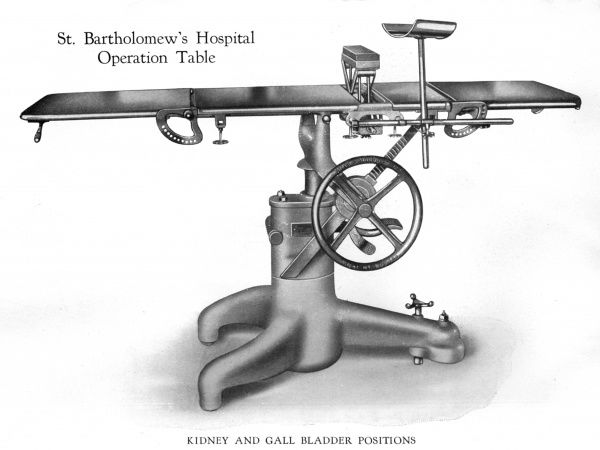 St Bartholomew's Hospital Operating Table in horizontal position. [This catalogue contains 2000 pages of medical equipment] Date: 1930