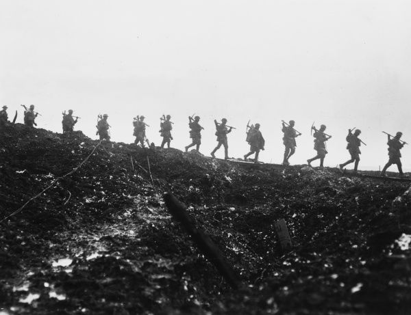 Working party of the Manchester Regiment moving up to the trenches near Serre in France on the British front during World War I in March 1917