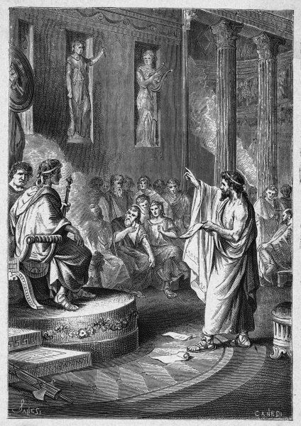 Valerius persuades the Senate to rescind the 20-year old Oppian Law which prohibited women from using expensive luxuries