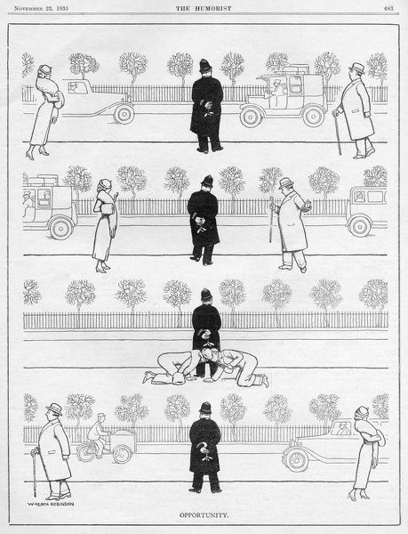 Sequential cartoon by William Heath Robinson showing a lady and man walking from opposite directions and deciding to throw caution to the wind when they spot a sprig of mistletoe clasped behind the back of a stationary police man