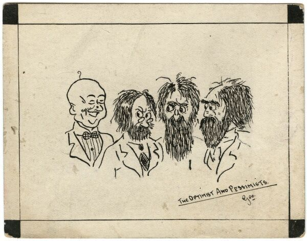Postcard by George Ranstead, amateur soldier artist of the Great War featuring three miserable looking hairy men with long beards, looking with suspicion at an optimist who is grinning broadly, despite only sporting a single hair on his bald pate