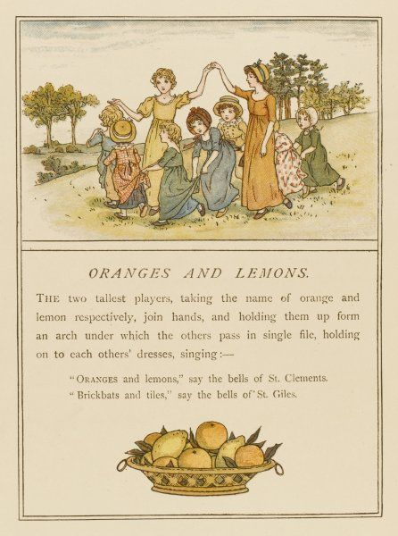 Girls playing oranges and lemons
