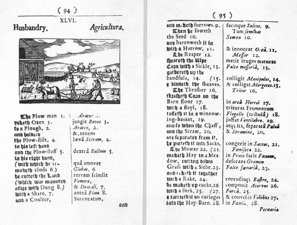 Two pages from the 17th century publication 'Orbis Pictus' on husbandry, with a selection of agricultural scenes. Date: 1658