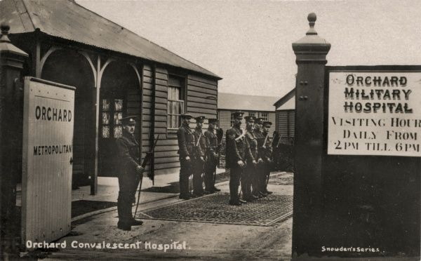 Soldiers at the entrance to the Orchard Convalescent Hospital at Long Reach, near Dartford, during its First World War deployment as a military hospital for overseas troops, mainly Australians
