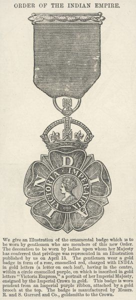 ORDER OF THE INDIAN EMPIRE (CIE) Here we see the ornamental badge for men who are members of this order which was newly created in 1877