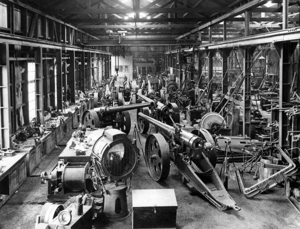 Interior of a workshop at the Salt River Works, near Cape Town, South Africa, where 4