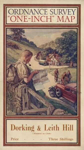 Front cover of an Ordnance Survey map covering the Dorking and Leith Hill area of Surrey. The cover features a hiker or rambler leaning against a wall and smoking a pipe as he consults his map. Cyclists and motoring day trippers can also be seen