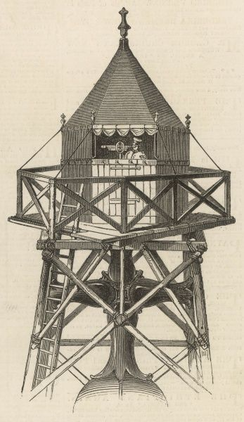 Engraving showing the observatory built on the dome of St. Paul's Cathedral by the Ordnance Survey, for their charting of London and the environs in 1848. The cross on top of the dome can be seen directly underneath the observatory platform