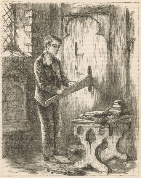 Early or unsophisticated organs rely on manual power to supply the air for the pipes ; this youth is pumping air in an English parish church